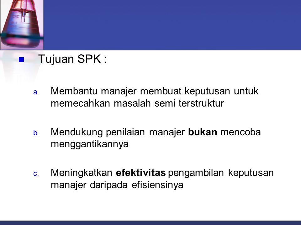 Tujuan SPK : a. Membantu manajer membuat keputusan untuk memecahkan masalah semi terstruktur b. Mendukung penilaian manajer bukan mencoba menggantikan