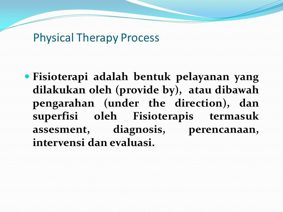 Physical Therapy Process Fisioterapi adalah bentuk pelayanan yang dilakukan oleh (provide by), atau dibawah pengarahan (under the direction), dan supe