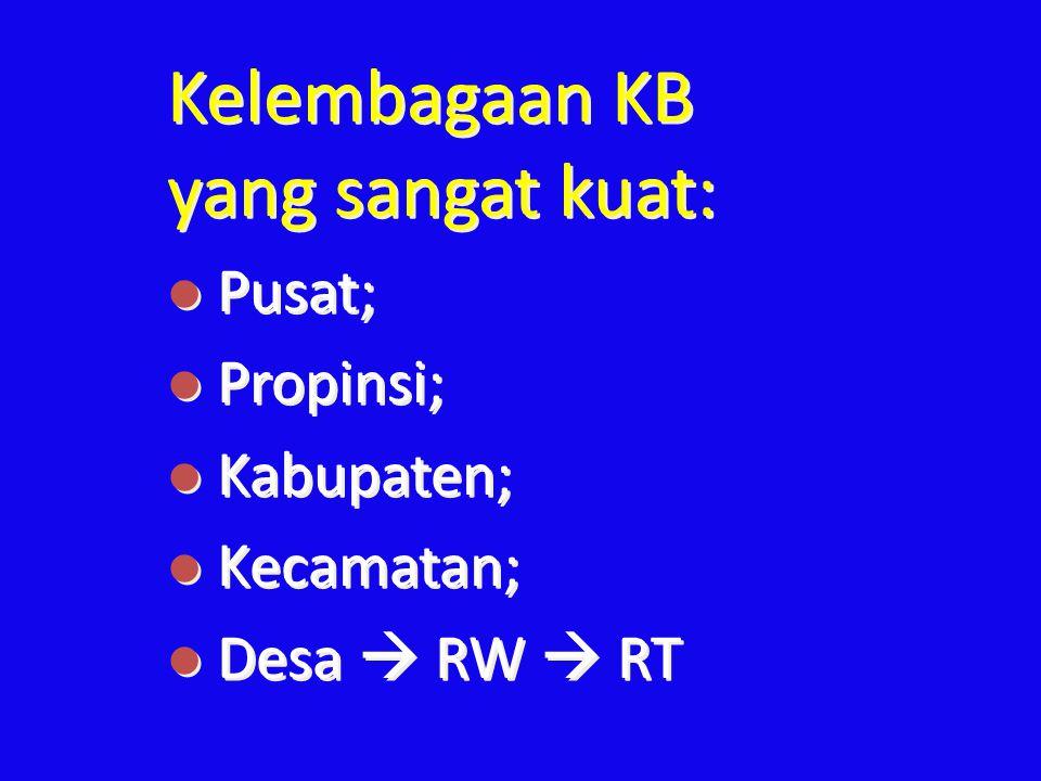 Kelembagaan KB yang sangat kuat: l Pusat; l Propinsi; l Kabupaten; l Kecamatan; l Desa  RW  RT Kelembagaan KB yang sangat kuat: l Pusat; l Propinsi;