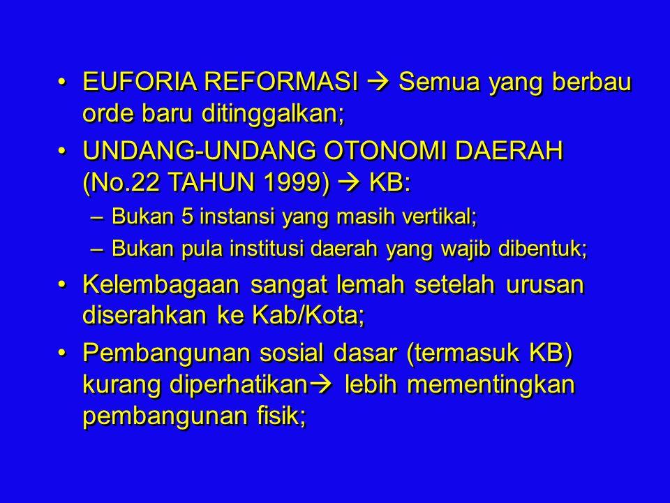 EUFORIA REFORMASI  Semua yang berbau orde baru ditinggalkan; UNDANG-UNDANG OTONOMI DAERAH (No.22 TAHUN 1999)  KB: –Bukan 5 instansi yang masih verti