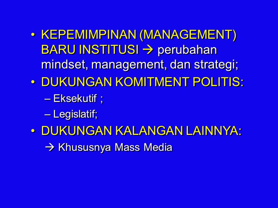 KEPEMIMPINAN (MANAGEMENT) BARU INSTITUSI  perubahan mindset, management, dan strategi; DUKUNGAN KOMITMENT POLITIS: –Eksekutif ; –Legislatif; DUKUNGAN
