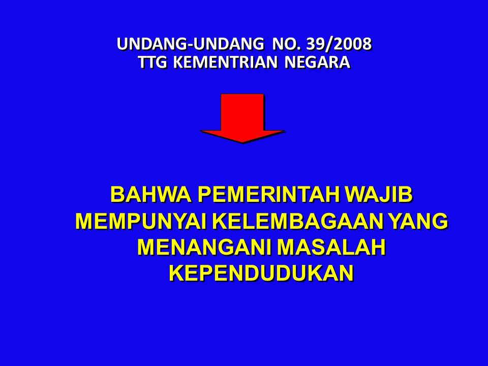 UNDANG-UNDANG NO. 39/2008 TTG KEMENTRIAN NEGARA BAHWA PEMERINTAH WAJIB MEMPUNYAI KELEMBAGAAN YANG MENANGANI MASALAH KEPENDUDUKAN