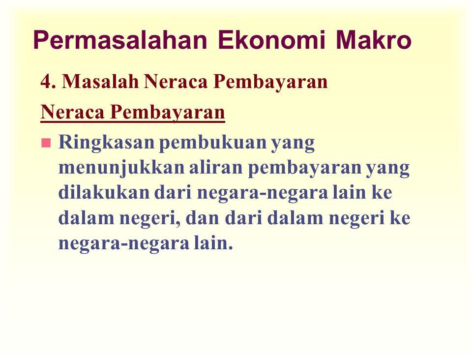 Permasalahan Ekonomi Makro 4. Masalah Neraca Pembayaran Neraca Pembayaran n Ringkasan pembukuan yang menunjukkan aliran pembayaran yang dilakukan dari