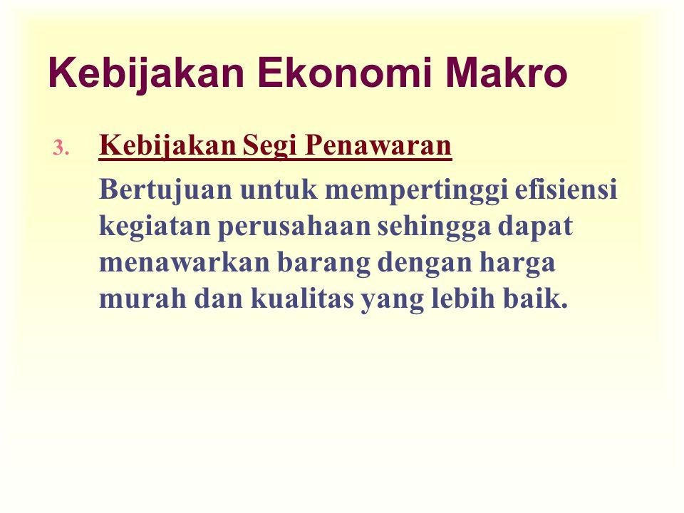 Kebijakan Ekonomi Makro 3. Kebijakan Segi Penawaran Bertujuan untuk mempertinggi efisiensi kegiatan perusahaan sehingga dapat menawarkan barang dengan