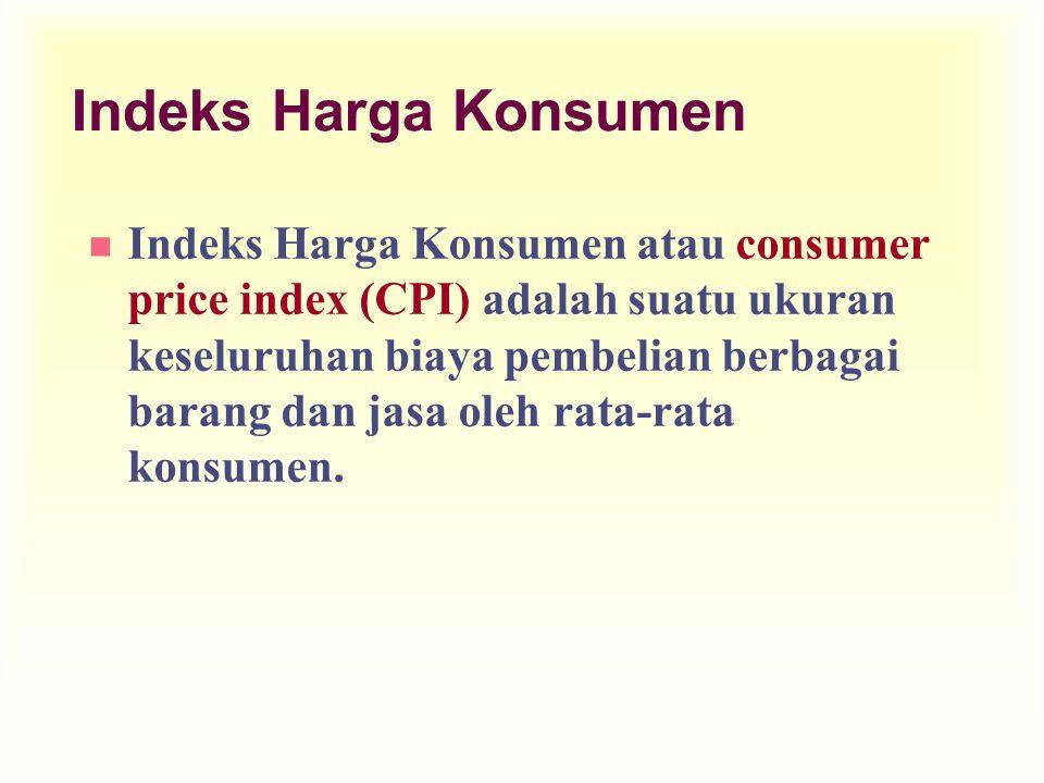 Indeks Harga Konsumen n Indeks Harga Konsumen atau consumer price index (CPI) adalah suatu ukuran keseluruhan biaya pembelian berbagai barang dan jasa