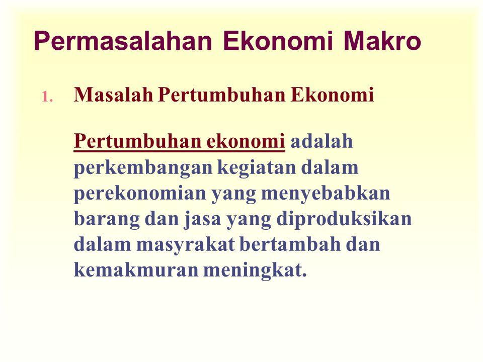 Permasalahan Ekonomi Makro 1. Masalah Pertumbuhan Ekonomi Pertumbuhan ekonomi adalah perkembangan kegiatan dalam perekonomian yang menyebabkan barang
