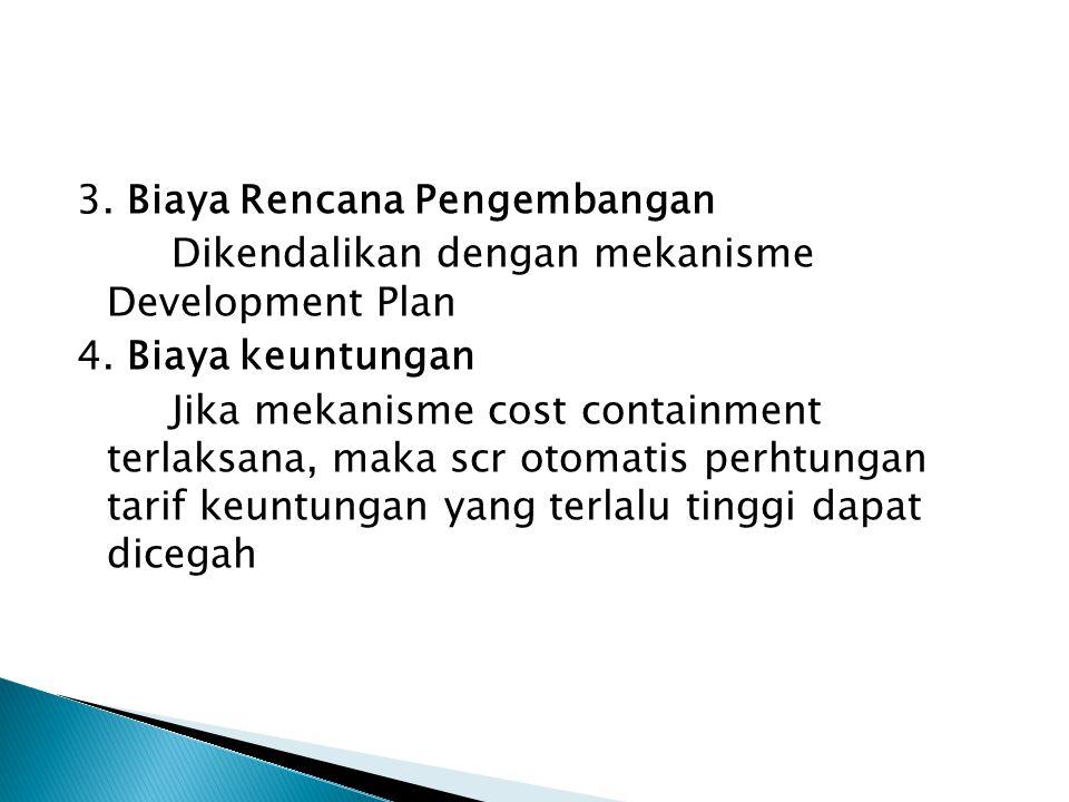 3. Biaya Rencana Pengembangan Dikendalikan dengan mekanisme Development Plan 4. Biaya keuntungan Jika mekanisme cost containment terlaksana, maka scr