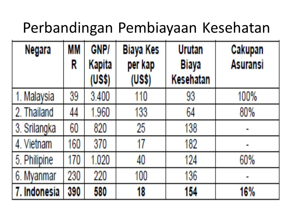 Dengan adanya biaya kesehatan yang tinggi  kesulitan kemampuan masyarakat memanfaatkan pelayanan kesehatan  tingkat / derajat kesehatan rendah Di Indonesia tingkat kesehatan masih relatif rendah di Asia Tenggara
