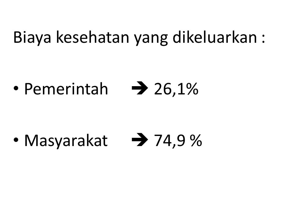 Biaya kesehatan yang dikeluarkan : Pemerintah  26,1% Masyarakat  74,9 %