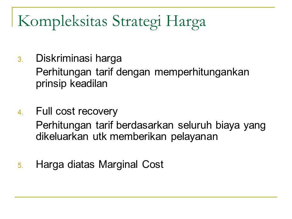 Kompleksitas Strategi Harga 1. Two-part tariffs perhitungan tarif dengan menggunakan dua perhitungan biaya yaitu biaya tetap dan biaya variabel. 2. Pe