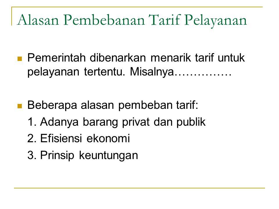 Alasan Pembebanan Tarif Pelayanan Pemerintah dibenarkan menarik tarif untuk pelayanan tertentu.
