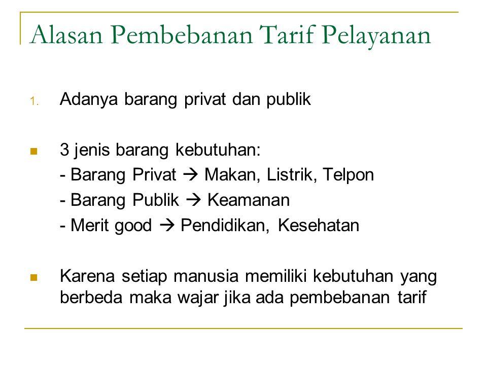 Alasan Pembebanan Tarif Pelayanan Pemerintah dibenarkan menarik tarif untuk pelayanan tertentu. Misalnya…………… Beberapa alasan pembeban tarif: 1. Adany