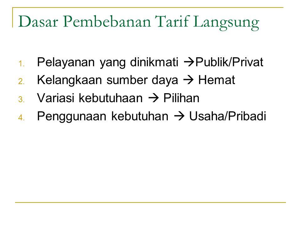 Alasan Pembebanan Tarif Pelayanan 3. Prinsip keuntungan Siapa yang menikmati pelayanan, maka wajib dibebankan tarif atas pelayanan tsb Sumber penerima
