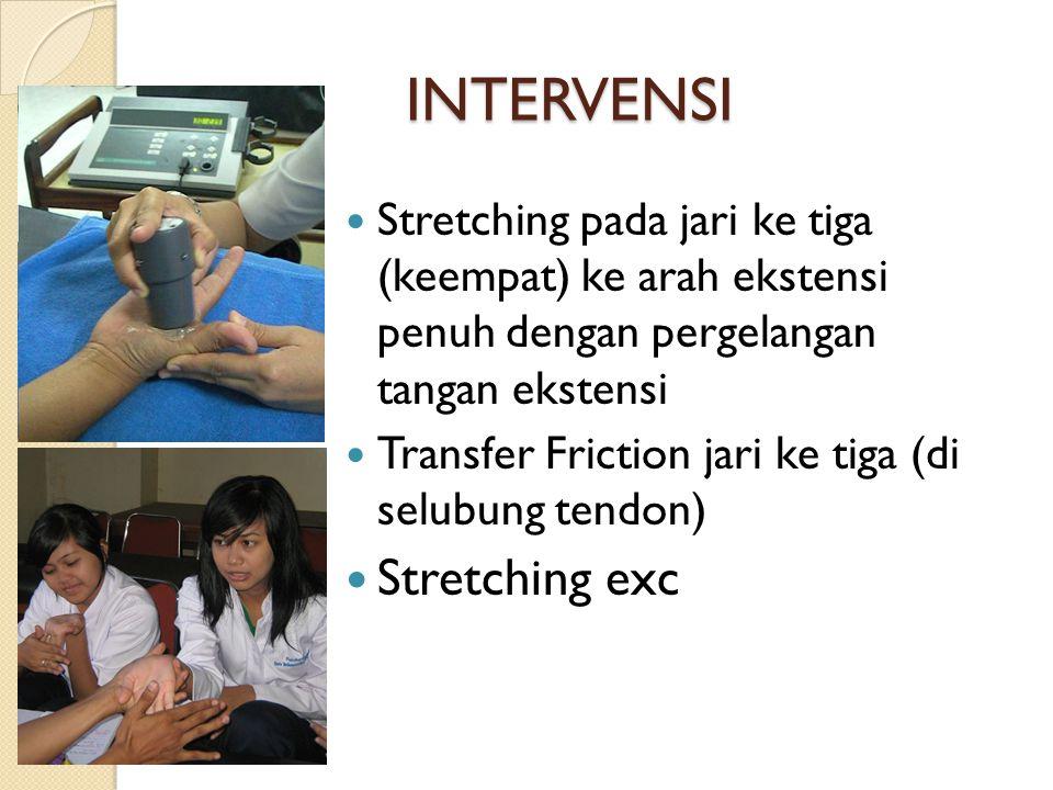 INTERVENSI Stretching pada jari ke tiga (keempat) ke arah ekstensi penuh dengan pergelangan tangan ekstensi Transfer Friction jari ke tiga (di selubun