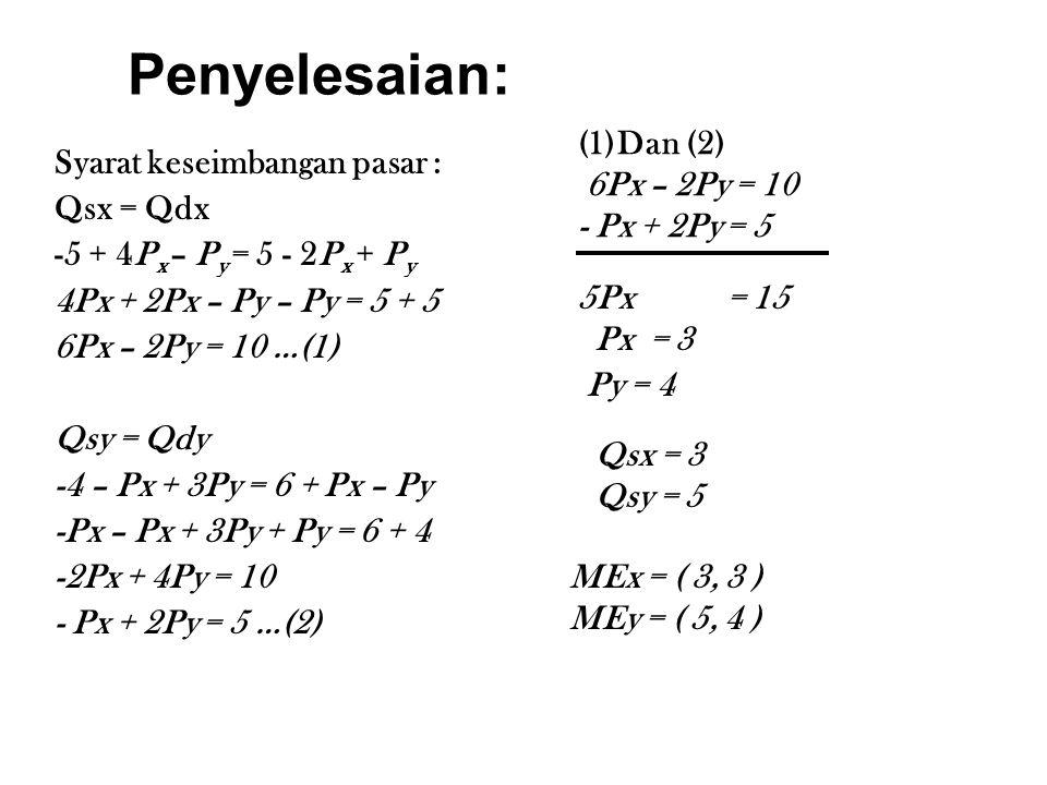 Penyelesaian: Syarat keseimbangan pasar : Qsx = Qdx -5 + 4P x – P y = 5 - 2P x + P y 4Px + 2Px – Py – Py = 5 + 5 6Px – 2Py = 10 …(1) Qsy = Qdy -4 – Px