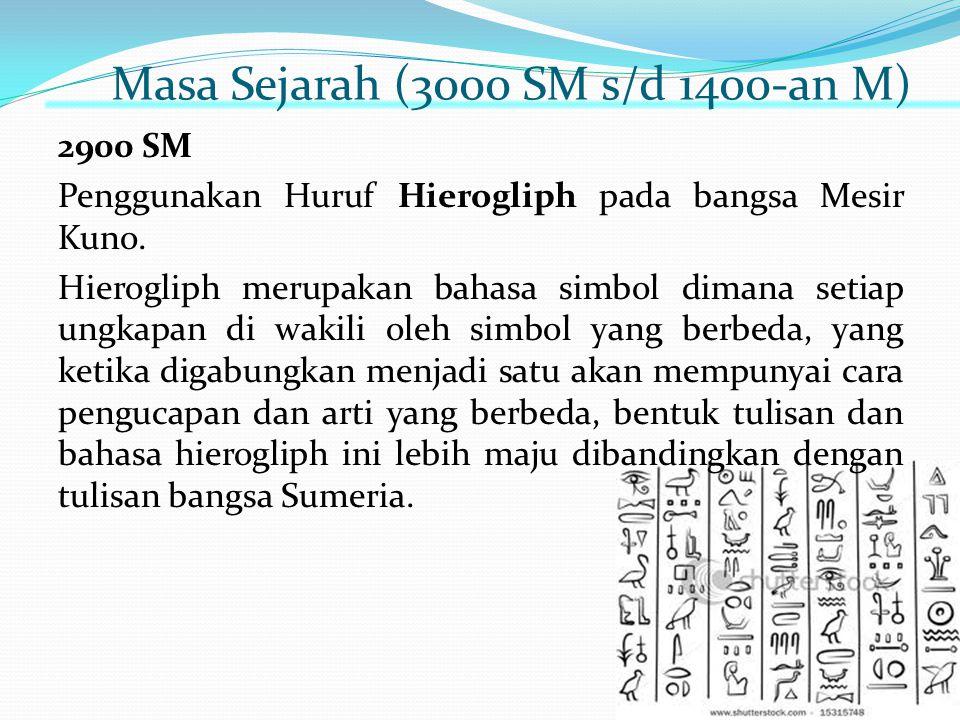 Masa Sejarah (3000 SM s/d 1400-an M) 2900 SM Penggunakan Huruf Hierogliph pada bangsa Mesir Kuno. Hierogliph merupakan bahasa simbol dimana setiap ung