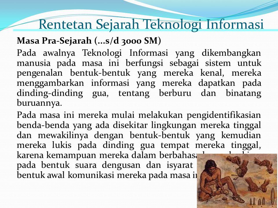 Rentetan Sejarah Teknologi Informasi Masa Pra-Sejarah (...s/d 3000 SM) Pada awalnya Teknologi Informasi yang dikembangkan manusia pada masa ini berfun