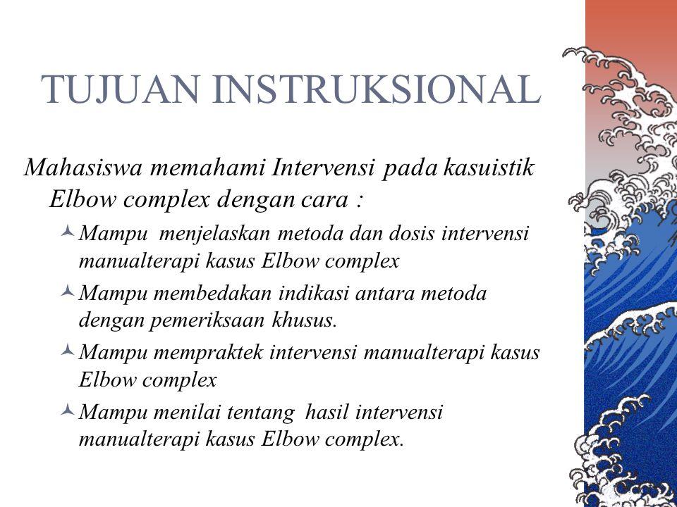 TUJUAN INSTRUKSIONAL Mahasiswa memahami Intervensi pada kasuistik Elbow complex dengan cara : Mampu menjelaskan metoda dan dosis intervensi manualtera
