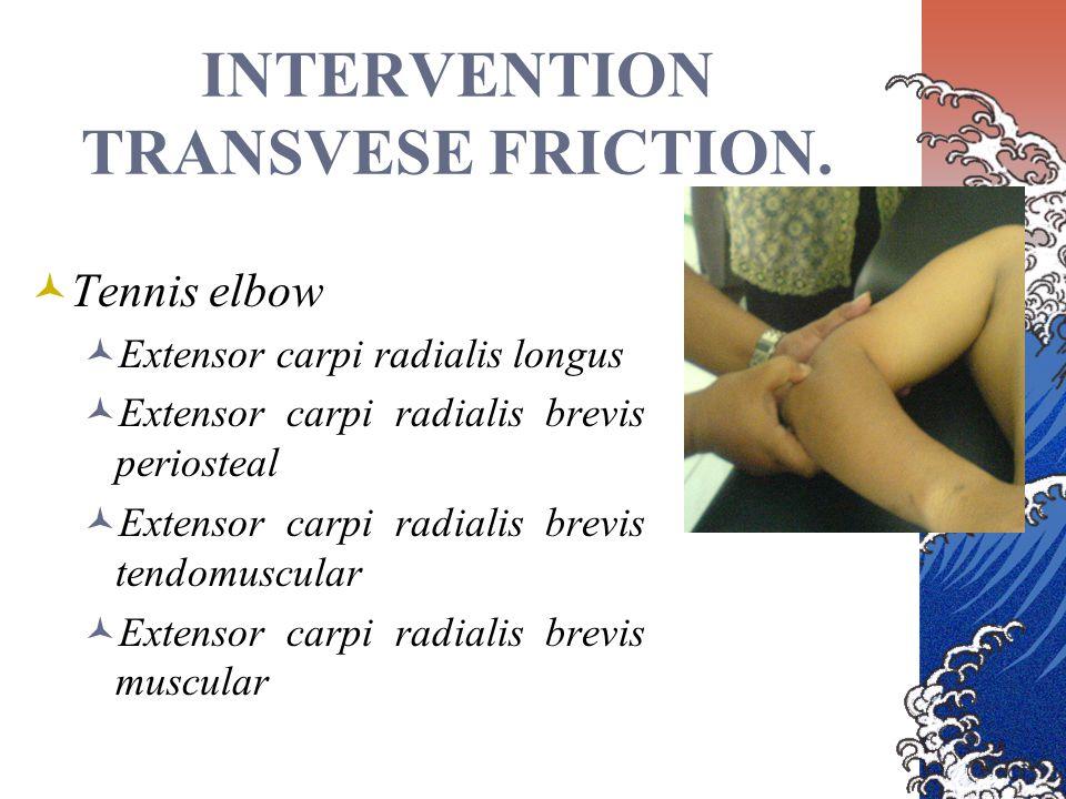 INTERVENTION TRANSVESE FRICTION. Tennis elbow Extensor carpi radialis longus Extensor carpi radialis brevis periosteal Extensor carpi radialis brevis