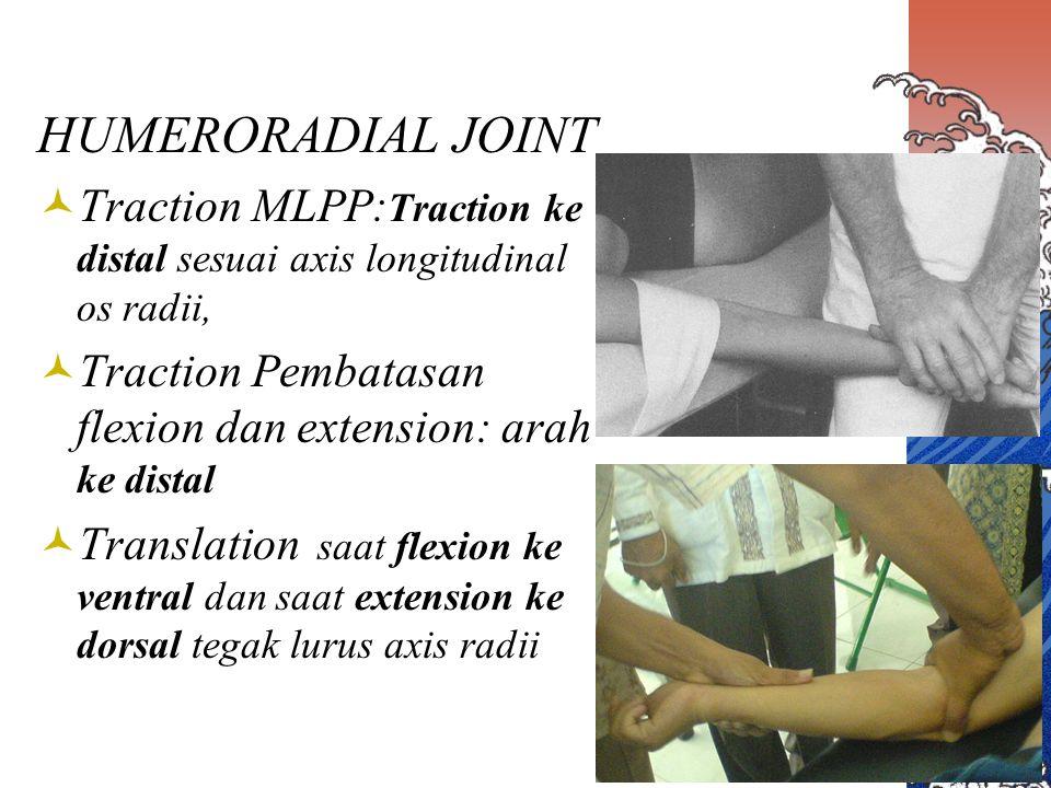 PROXIMAL RADIOULNAR JOINT Translation : untuk gerak pronation ke dorsal dan untuk gerak supination ke ventral.