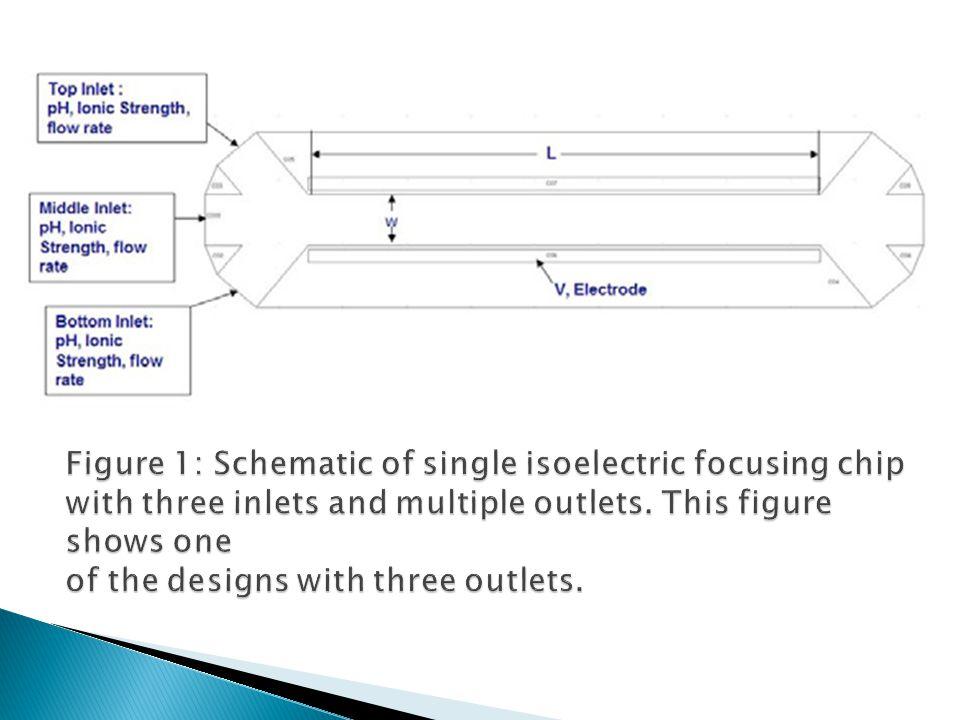  Tujuan dari DOE adalah untuk memaksimalkan distribusi pH widthwise di outlet saluran microfuidic dengan keseragaman tertinggi dicapai sehingga protein yang terkait dengan nilai-nilai pi dapat dipisahkan secara efektif  Sepuluh parameter individu mengendalikan distribusi pH dalam saluran diidentifikasi.
