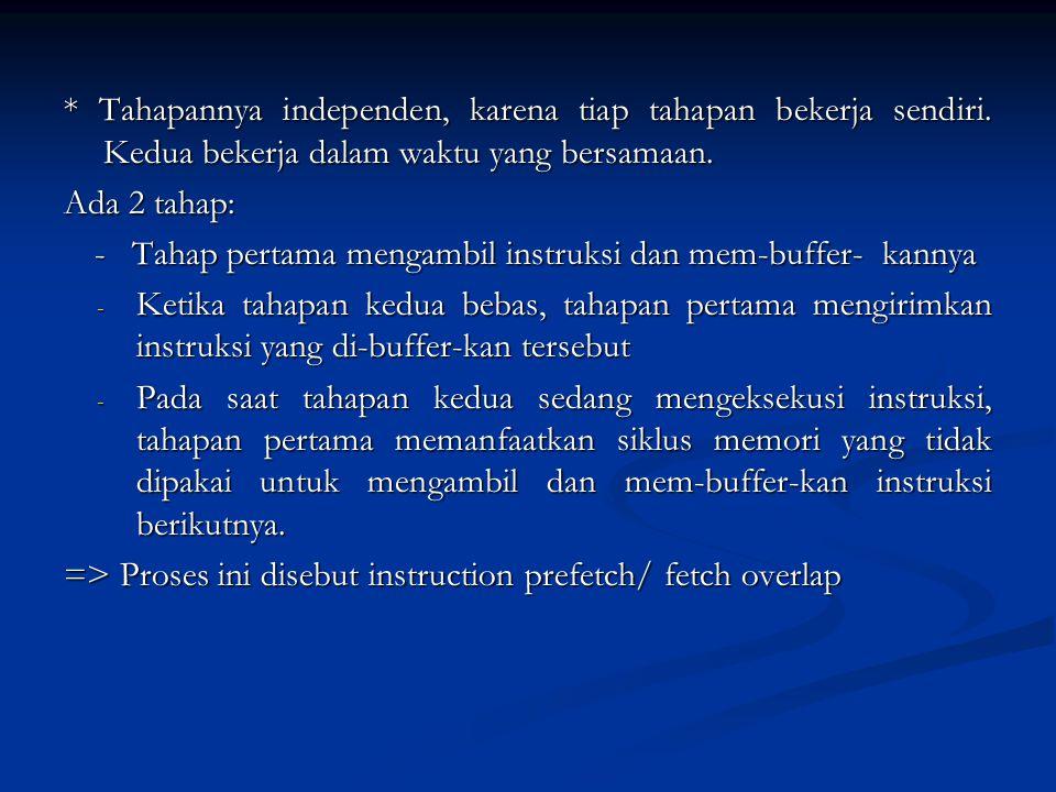 Pipeline - Pengolahan Instruksi o pengambilan instruksi o pengeksekusian instruksi 1) terdapat waktu yang dibutuhkan selama proses eksekusi sebuah ins