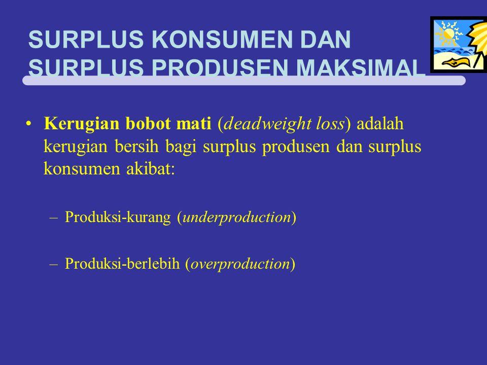 SURPLUS KONSUMEN DAN SURPLUS PRODUSEN MAKSIMAL Kerugian bobot mati (deadweight loss) adalah kerugian bersih bagi surplus produsen dan surplus konsumen