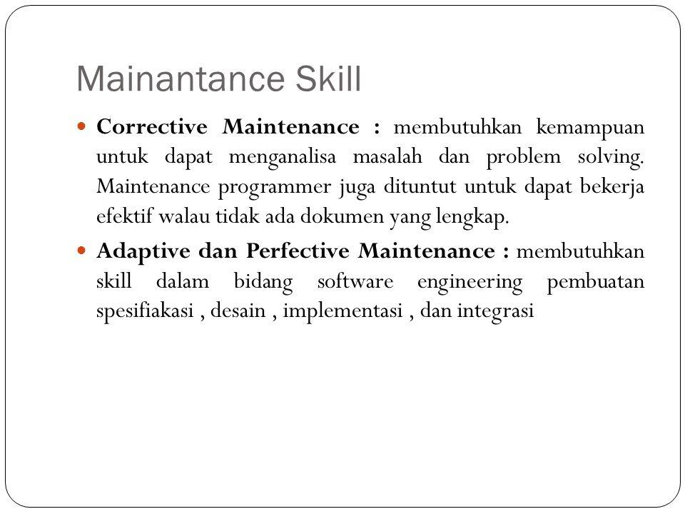 Mainantance Skill Corrective Maintenance : membutuhkan kemampuan untuk dapat menganalisa masalah dan problem solving.
