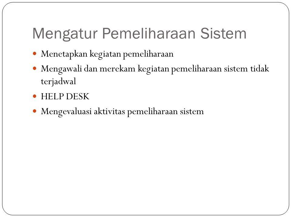 Mengatur Pemeliharaan Sistem Menetapkan kegiatan pemeliharaan Mengawali dan merekam kegiatan pemeliharaan sistem tidak terjadwal HELP DESK Mengevaluasi aktivitas pemeliharaan sistem