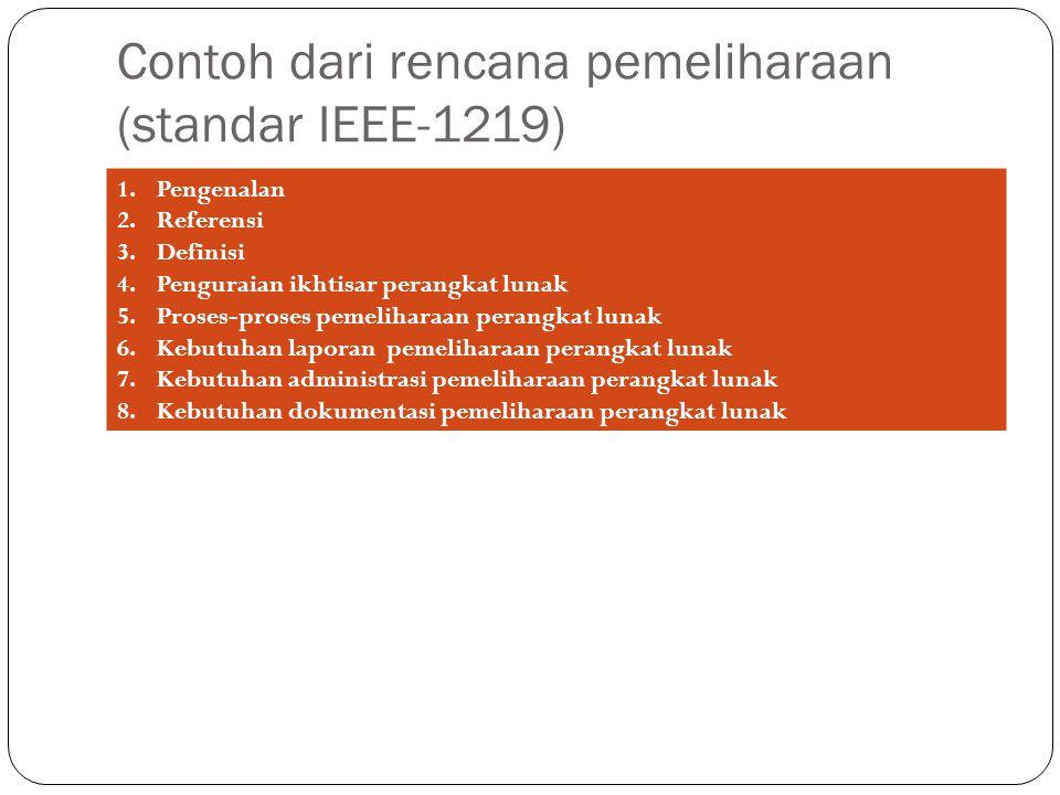 Contoh dari rencana pemeliharaan (standar IEEE-1219) 1.Pengenalan 2.Referensi 3.Definisi 4.Penguraian ikhtisar perangkat lunak 5.Proses-proses pemeliharaan perangkat lunak 6.Kebutuhan laporan pemeliharaan perangkat lunak 7.Kebutuhan administrasi pemeliharaan perangkat lunak 8.Kebutuhan dokumentasi pemeliharaan perangkat lunak