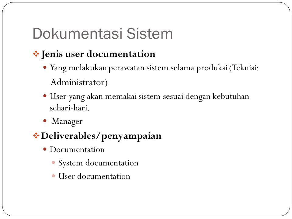 Dokumentasi Sistem  Dokumentasi Sistem Informasi detail tentang spesifikasi perancangan sistem, rincian proses kerja internal berserta fungsionalitasnya.