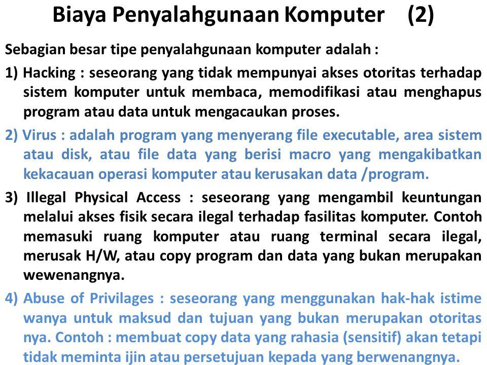 Biaya Penyalahgunaan Komputer (2) Sebagian besar tipe penyalahgunaan komputer adalah : 1) Hacking : seseorang yang tidak mempunyai akses otoritas terhadap sistem komputer untuk membaca, memodifikasi atau menghapus program atau data untuk mengacaukan proses.