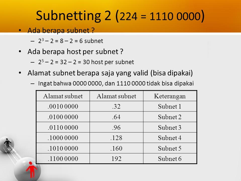 Subnetting 2 ( 224 = 1110 0000 ) Ada berapa subnet ? – 2 3 – 2 = 8 – 2 = 6 subnet Ada berapa host per subnet ? – 2 5 – 2 = 32 – 2 = 30 host per subnet