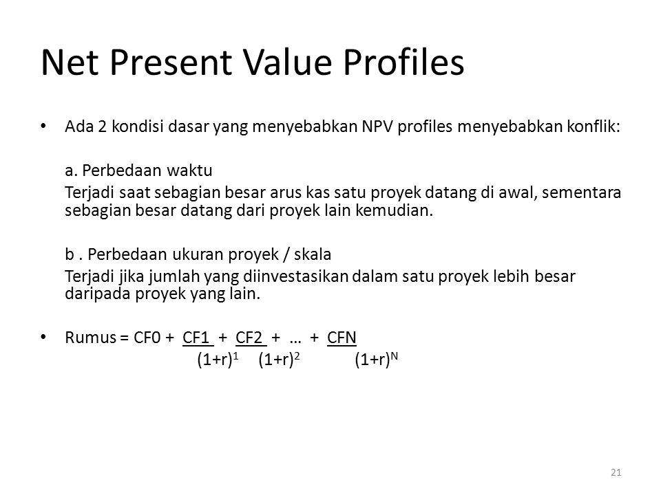 Net Present Value Profiles Ada 2 kondisi dasar yang menyebabkan NPV profiles menyebabkan konflik: a. Perbedaan waktu Terjadi saat sebagian besar arus