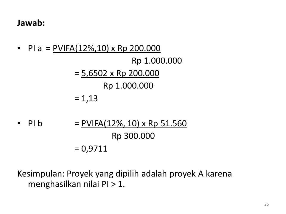 Jawab: PI a = PVIFA(12%,10) x Rp 200.000 Rp 1.000.000 = 5,6502 x Rp 200.000 Rp 1.000.000 = 1,13 PI b= PVIFA(12%, 10) x Rp 51.560 Rp 300.000 = 0,9711 K