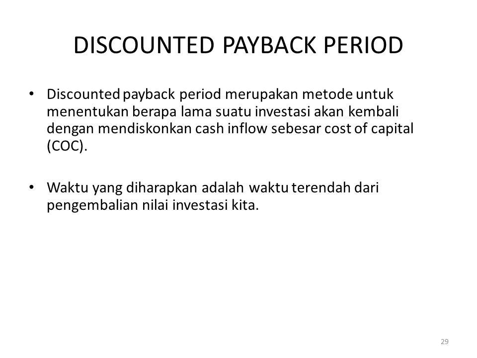 DISCOUNTED PAYBACK PERIOD Discounted payback period merupakan metode untuk menentukan berapa lama suatu investasi akan kembali dengan mendiskonkan cas