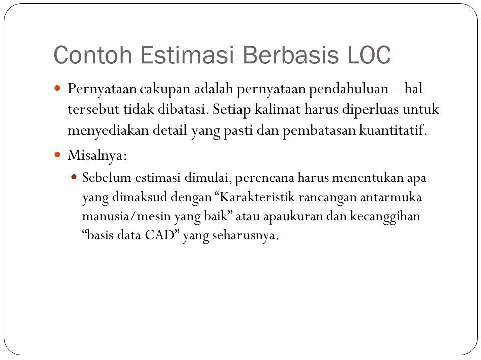 Contoh Estimasi Berbasis LOC Pernyataan cakupan adalah pernyataan pendahuluan – hal tersebut tidak dibatasi. Setiap kalimat harus diperluas untuk meny