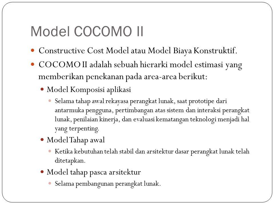 Model COCOMO II Constructive Cost Model atau Model Biaya Konstruktif. COCOMO II adalah sebuah hierarki model estimasi yang memberikan penekanan pada a