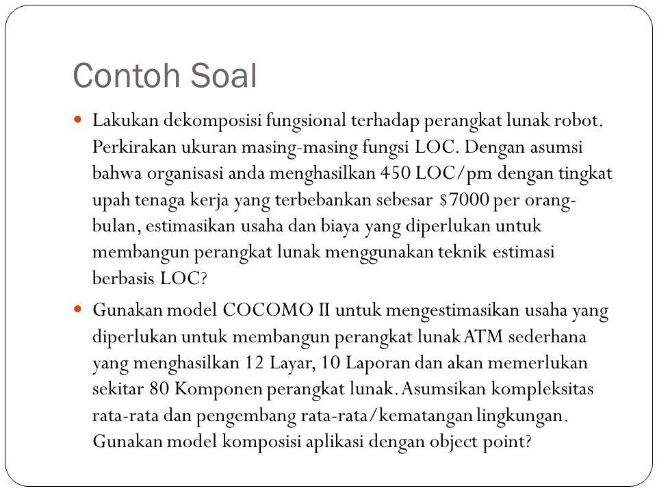 Contoh Soal Lakukan dekomposisi fungsional terhadap perangkat lunak robot. Perkirakan ukuran masing-masing fungsi LOC. Dengan asumsi bahwa organisasi