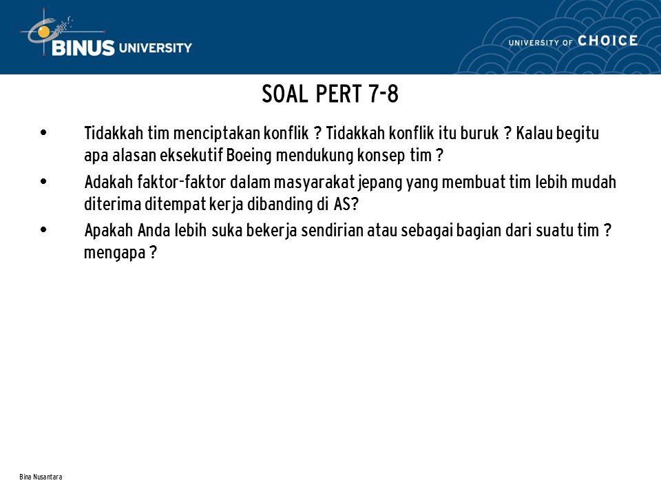 Bina Nusantara SOAL PERT 7-8 Tidakkah tim menciptakan konflik ? Tidakkah konflik itu buruk ? Kalau begitu apa alasan eksekutif Boeing mendukung konsep