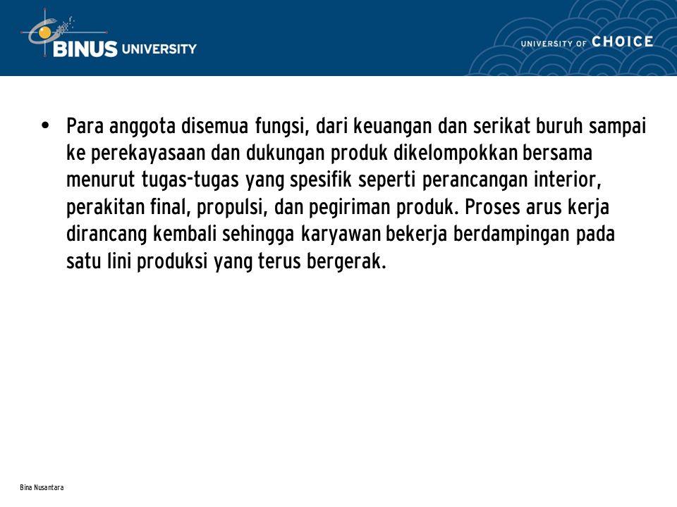 Bina Nusantara Para anggota disemua fungsi, dari keuangan dan serikat buruh sampai ke perekayasaan dan dukungan produk dikelompokkan bersama menurut t
