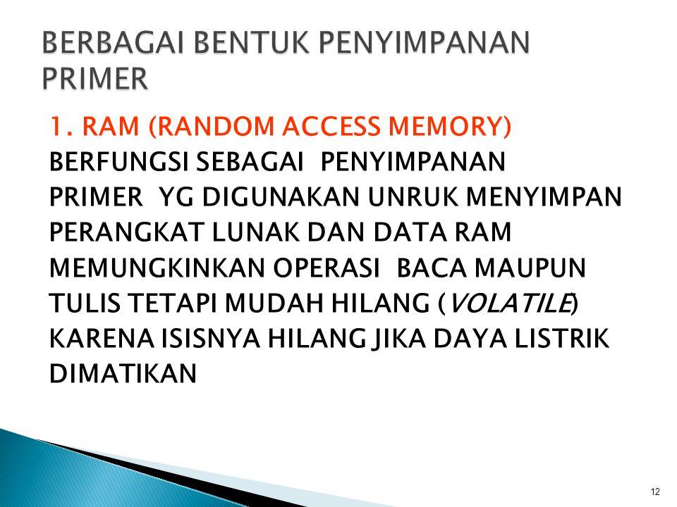 1. RAM (RANDOM ACCESS MEMORY) BERFUNGSI SEBAGAI PENYIMPANAN PRIMER YG DIGUNAKAN UNRUK MENYIMPAN PERANGKAT LUNAK DAN DATA RAM MEMUNGKINKAN OPERASI BACA
