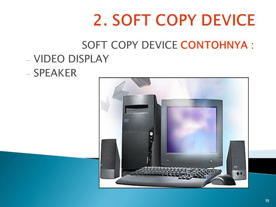 SOFT COPY DEVICE CONTOHNYA : - VIDEO DISPLAY - SPEAKER 19