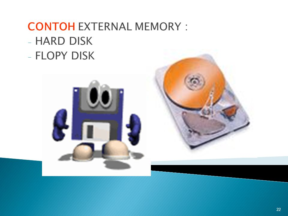 CONTOH EXTERNAL MEMORY : - HARD DISK - FLOPY DISK 22