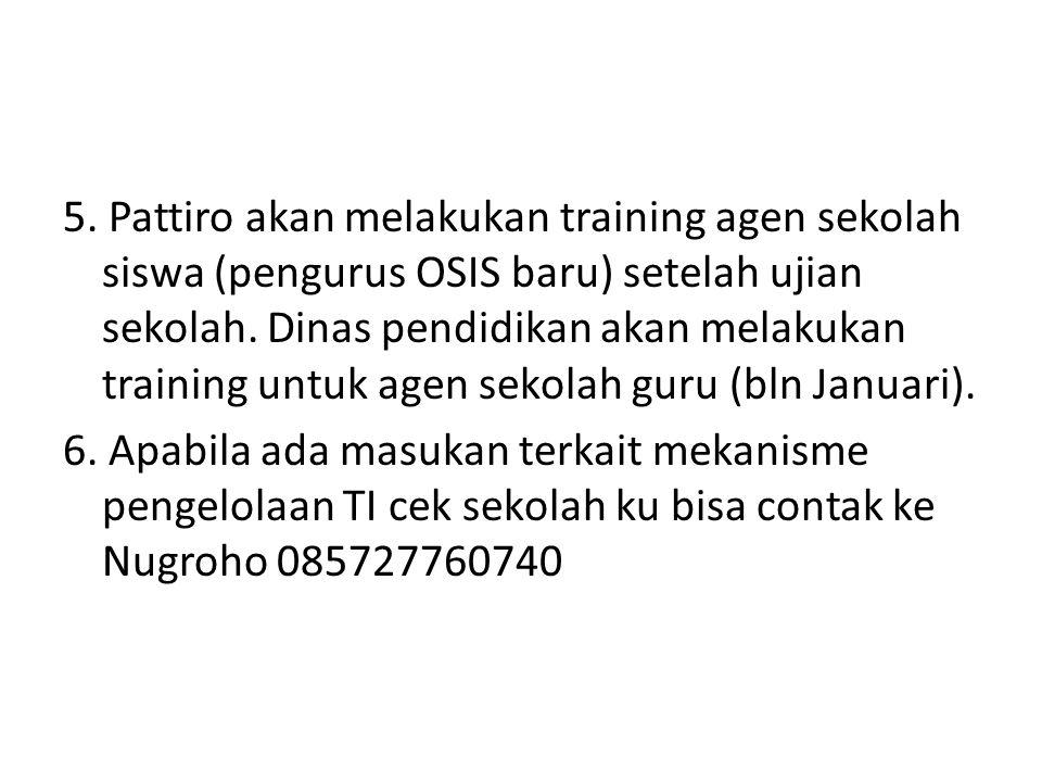 5.Pattiro akan melakukan training agen sekolah siswa (pengurus OSIS baru) setelah ujian sekolah.