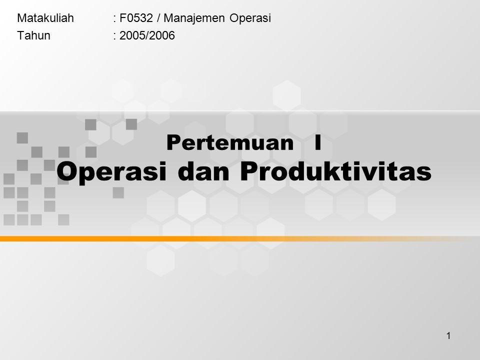 1 Matakuliah: F0532 / Manajemen Operasi Tahun: 2005/2006 Pertemuan I Operasi dan Produktivitas