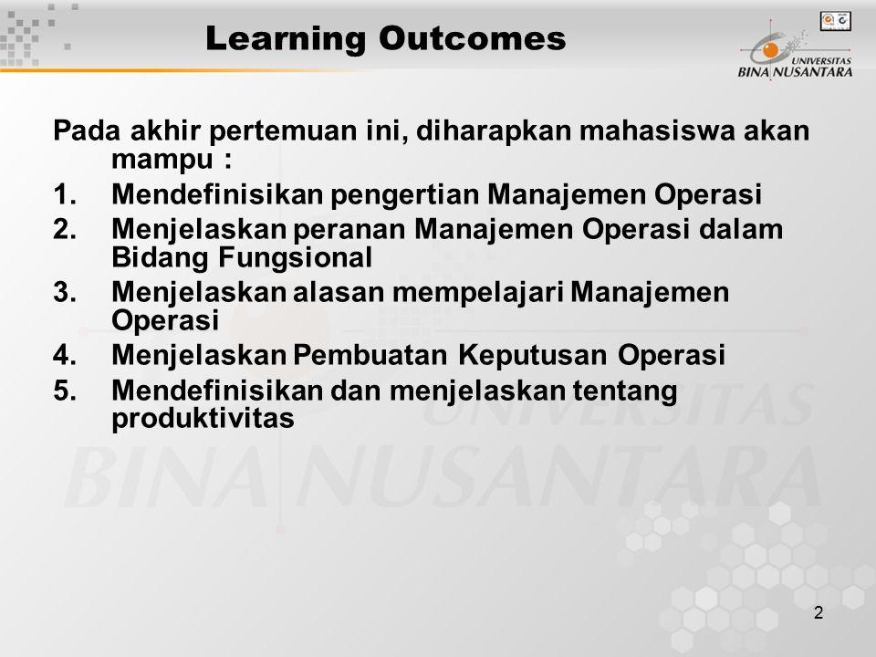 2 Learning Outcomes Pada akhir pertemuan ini, diharapkan mahasiswa akan mampu : 1.Mendefinisikan pengertian Manajemen Operasi 2.Menjelaskan peranan Manajemen Operasi dalam Bidang Fungsional 3.Menjelaskan alasan mempelajari Manajemen Operasi 4.Menjelaskan Pembuatan Keputusan Operasi 5.Mendefinisikan dan menjelaskan tentang produktivitas