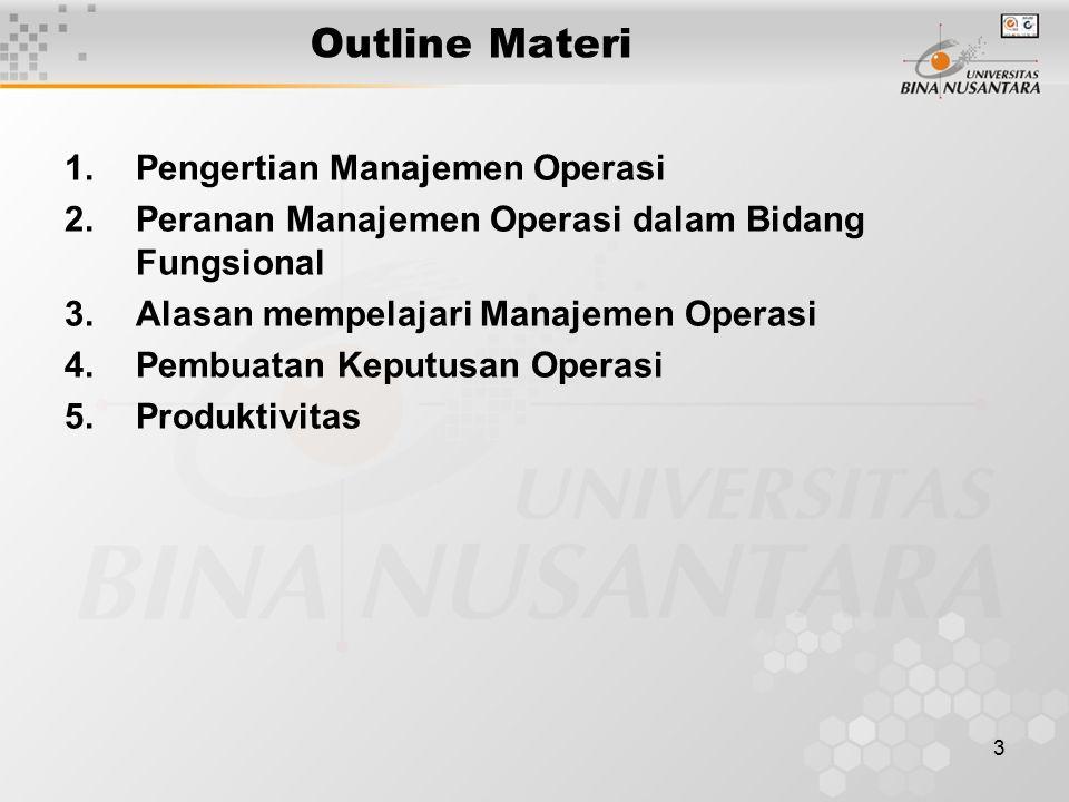 3 Outline Materi 1.Pengertian Manajemen Operasi 2.Peranan Manajemen Operasi dalam Bidang Fungsional 3.Alasan mempelajari Manajemen Operasi 4.Pembuatan Keputusan Operasi 5.Produktivitas