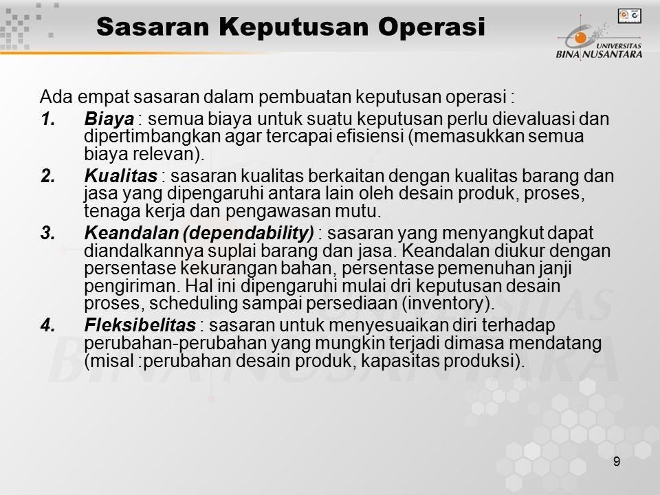 9 Sasaran Keputusan Operasi Ada empat sasaran dalam pembuatan keputusan operasi : 1.Biaya : semua biaya untuk suatu keputusan perlu dievaluasi dan dipertimbangkan agar tercapai efisiensi (memasukkan semua biaya relevan).