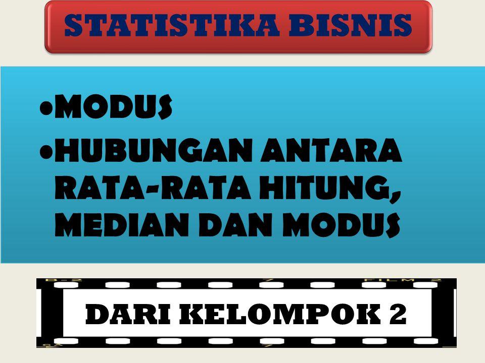 MODUS HUBUNGAN ANTARA RATA-RATA HITUNG, MEDIAN DAN MODUS STATISTIKA BISNIS DARI KELOMPOK 2